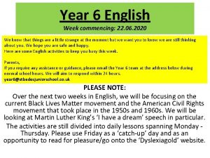 Year 6 English Week commencing 22 06 2020
