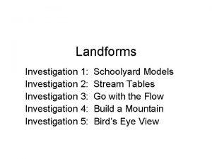 Landforms Investigation 1 Investigation 2 Investigation 3 Investigation
