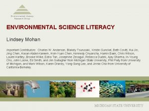 Environmental Literacy Research Group ENVIRONMENTAL SCIENCE LITERACY Lindsey
