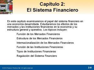 Captulo 2 El Sistema Financiero En este captulo