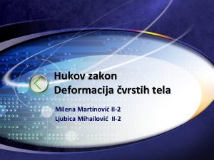 Hukov zakon Deformacija vrstih tela Milena Martinovi II2
