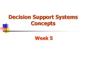 Decision Support Systems Concepts Week 5 DSS Configurations
