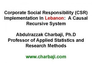 Corporate Social Responsibility CSR Implementation In Lebanon A