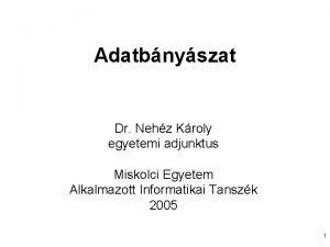 Adatbnyszat Dr Nehz Kroly egyetemi adjunktus Miskolci Egyetem