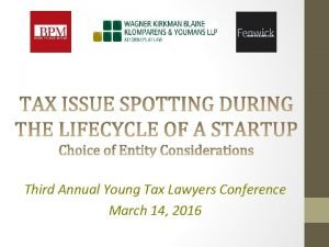 Third Annual Young Tax Lawyers Conference March 14