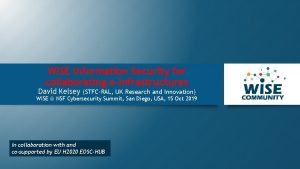 WISE Information Security for collaborating eInfrastructures David Kelsey