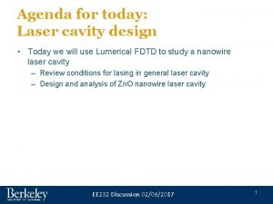 Agenda for today Laser cavity design Today we