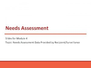 Needs Assessment Slides for Module 4 Topic Needs