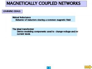 MAGNETICALLY COUPLED NETWORKS LEARNING GOALS Mutual Inductance Behavior