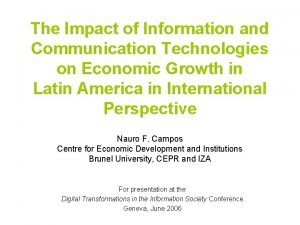 The Impact of Information and Communication Technologies on