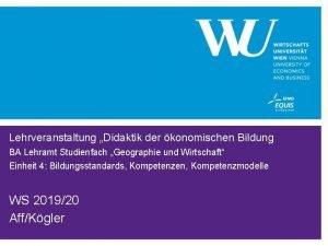 Lehrveranstaltung Didaktik der konomischen Bildung BA Lehramt Studienfach