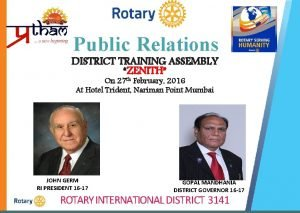 Public Relations DISTRICT TRAINING ASSEMBLY ZENITH On 27