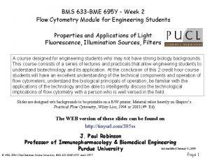 BMS 633 BME 695 Y Week 2 Flow