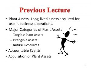 Previous Lecture Plant Assets Longlived assets acquired for