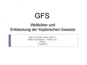 GFS Weltbilder und Entdeckung der Keplerschen Gesetze Marco