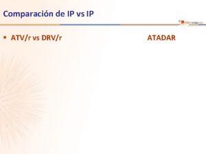 Comparacin de IP vs IP ATVr vs DRVr