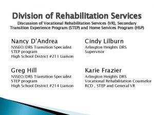 Division of Rehabilitation Services Discussion of Vocational Rehabilitation