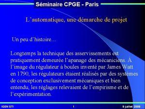 Sminaire CPGE Paris Lautomatique une dmarche de projet