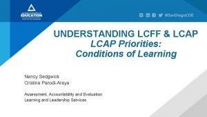 UNDERSTANDING LCFF LCAP Priorities Conditions of Learning Nancy