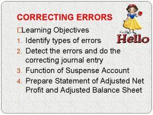 CORRECTING ERRORS Learning Objectives 1 Identify types of