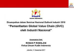 Disampaikan dalam Seminar Nasional Outlook Industri 2018 Pemanfaatan