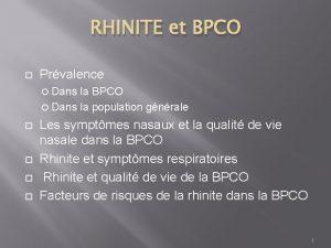 RHINITE et BPCO Prvalence Dans la BPCO Dans