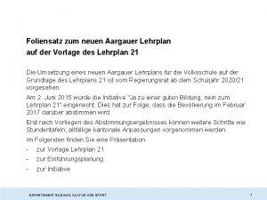 Foliensatz zum neuen Aargauer Lehrplan auf der Vorlage