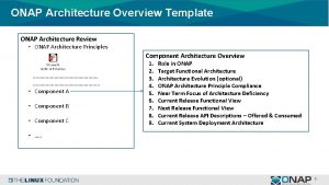 ONAP Architecture Overview Template ONAP Architecture Review ONAP