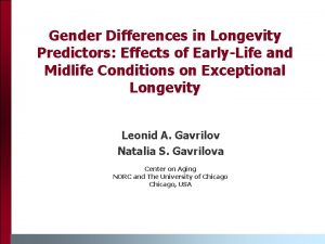 Gender Differences in Longevity Predictors Effects of EarlyLife