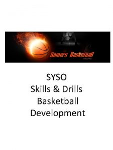 SYSO Skills Drills Basketball Development Indicates cone Indicates