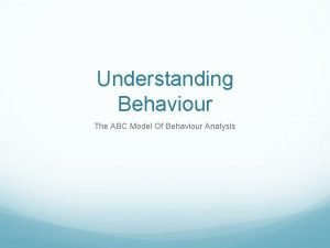 Understanding Behaviour The ABC Model Of Behaviour Analysis
