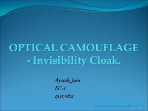 OPTICAL CAMOUFLAGE Invisibility Cloak Ayush Jain EC1 1507162