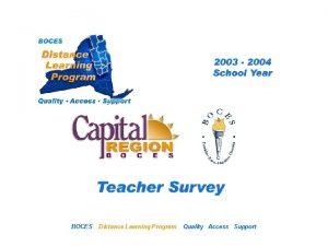 CRB Distance Learning Project BOCES Teacher Survey Distance