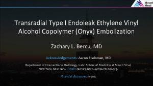 Transradial Type I Endoleak Ethylene Vinyl Alcohol Copolymer