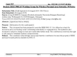 August 2019 doc IEEE 802 15 19 0371