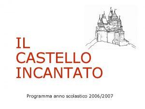 IL CASTELLO INCANTATO Programma anno scolastico 20062007 OGGETTO