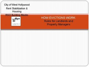 City of West Hollywood Rent Stabilization Housing RSO