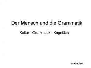 Der Mensch und die Grammatik Kultur Grammatik Kognition