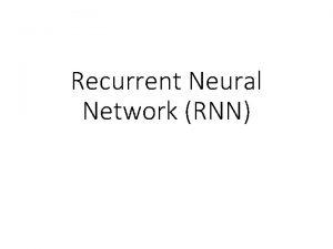 Recurrent Neural Network RNN Example Application Slot Filling