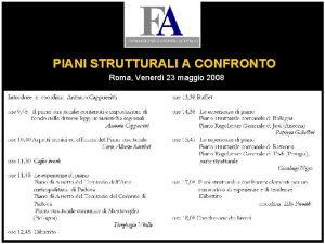 PIANI STRUTTURALI A CONFRONTO Roma Venerd 23 maggio