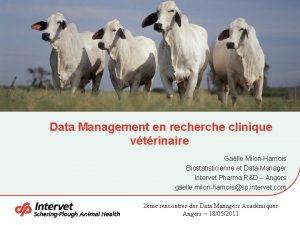 Data Management en recherche clinique vtrinaire Galle MilonHarnois