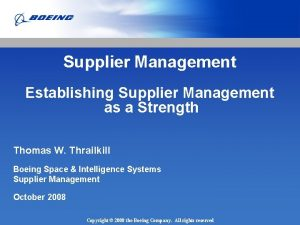 Supplier Management Establishing Supplier Management as a Strength