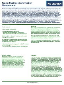 Track Business Information Management The Business Information Management