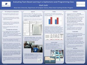 Evaluating TeamBased Learning in a Sophomore Level Programming