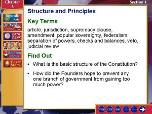 Structure and Principles Key Terms article jurisdiction supremacy