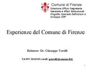 Comune di Firenze Direzione Ufficio Segreteria Generale e