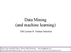 Data Mining and machine learning DM Lecture 8