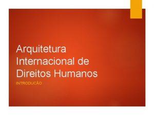 Arquitetura Internacional de Direitos Humanos INTRODUCO Origem Direitos