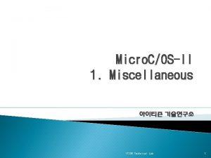 Micro COSII 1 Miscellaneous ITISN Technical Lab 1
