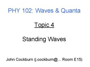 PHY 102 Waves Quanta Topic 4 Standing Waves